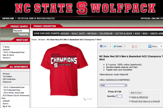 NCSU Store Touted 'ACC Champs' Shirts