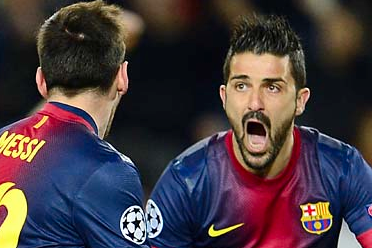 Lionel Messi, David Villa Lead Barcelona Past AC Milan
