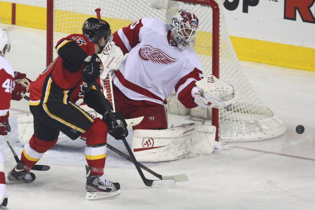Jonas Gustavsson, Detroit Red Wings Struggle in 5-2 Loss to the Calgary Flames