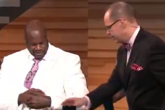 Shaquille O'Neal's White Suit Gets Destroyed by Inside the NBA Crew (Video)