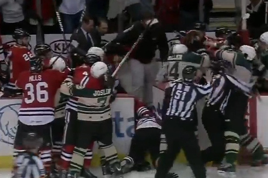Chicago Wolves vs Rockford IceHogs Hockey Brawl