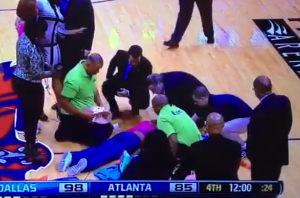 Atlanta Cheerleader Carted off Court After Bizarre Injury
