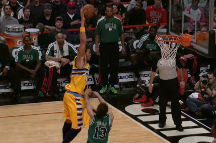Video: JaVale McGee Throws It in over Joakim Noah