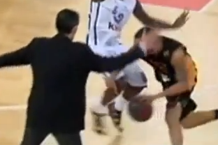 Coach Tries to Steal Ball in Waning Seconds of French Basketball Game