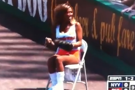 Phillies Hooters Ball Girl Commits Two Errors in Same Inning, Fans Boo [VIDEOS]