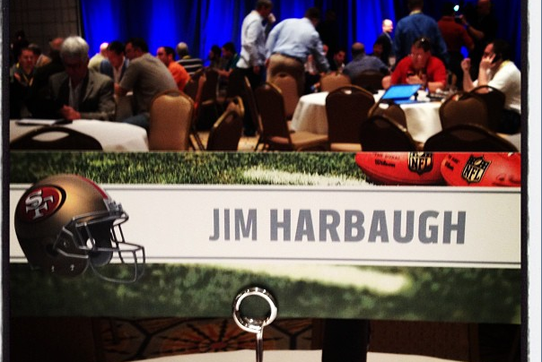Jim Harbaugh's Seat at the NFL Owners Meeting