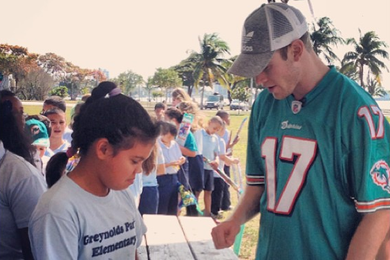 Dolphins' Ryan Tannehill Teaches Kids Physics at a Park