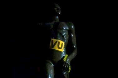 Michigan State Spartan Statue Defaced with Valparaiso Gear