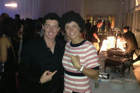 Caroline Wozniacki dresses as Rory McIlroy at players party