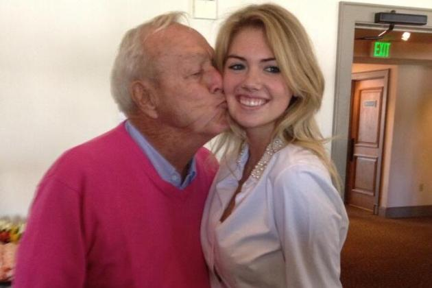 Twitpic: Arnold Palmer Planting One on Kate Upton