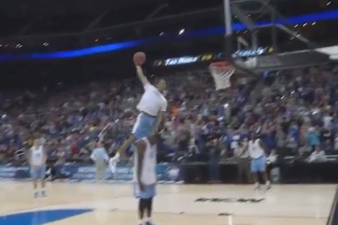 Video: UNC's J.P. Tokoto Dunks After Jumping Over 6-10 Prop Joel James