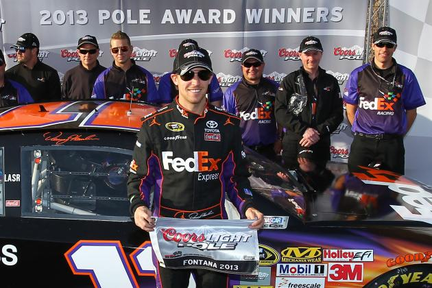 Hamlin on Pole at Fontana; Rival Logano Close Behind