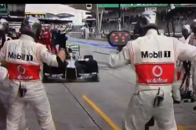Video: Hamilton Stops in McLaren's Pit Box by Mistake