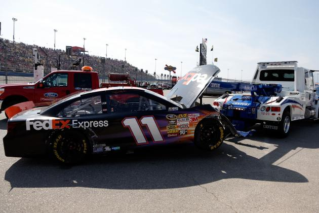 Denny Hamlin in Hard Hit as Kyle Busch Wins Race