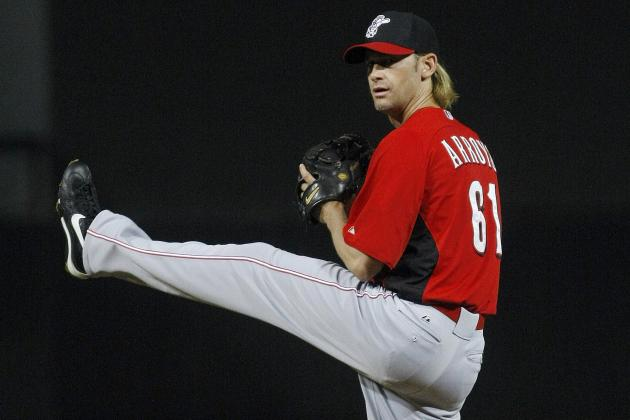 Bronson Arroyo hit on pitching hand by line drive in Reds' 7-2 loss to Rangers