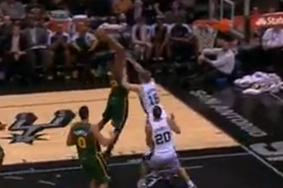 VIDEO: Derrick Favors Throws Down on Matt Bonner