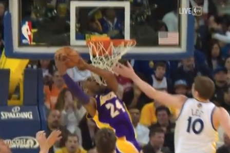 Video: Lakers' Kobe Bryant Elevates for Reverse Dunk Against Warriors
