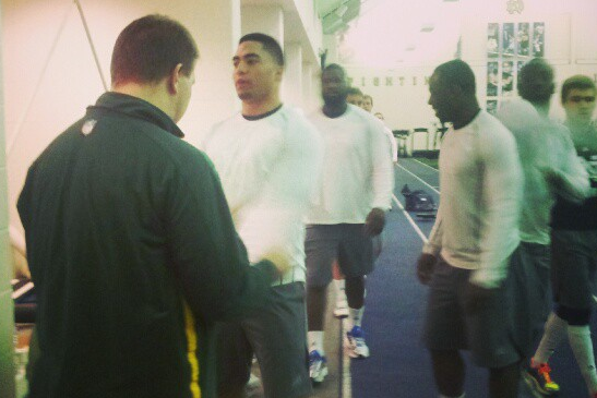 Manti Te'o Prepares for Notre Dame Pro Day