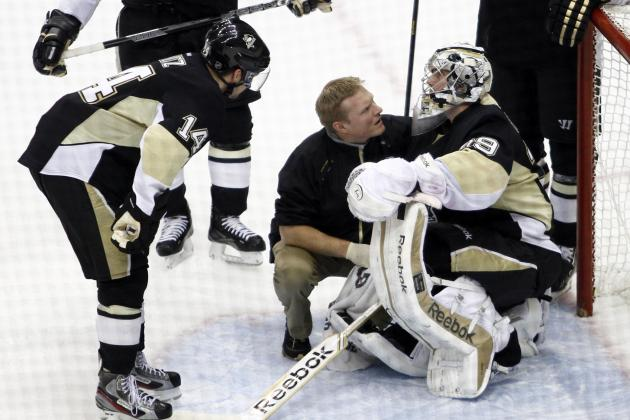 Video: Marc-Andre Fleury Injured During Collision
