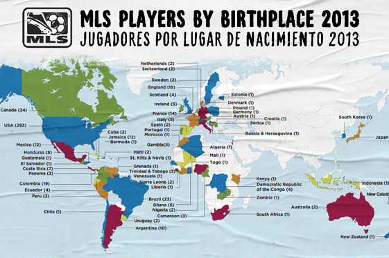 Major League Soccer Releases Annual Players' World Map