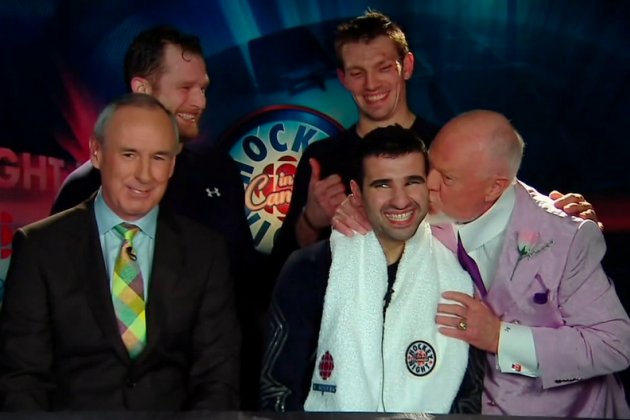 Don Cherry Kisses Toronto Maple Leafs' Nazem Kadri