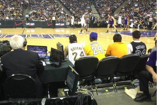 Lakers Fans Sit in Maloofs' Seats at Sacramento Kings Home Game