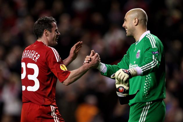 Carragher, Reina in Starting XI vs. Aston Villa