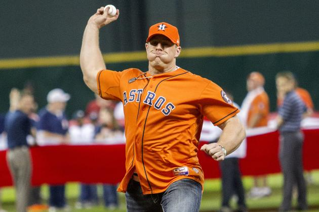 J.J. Watt Opens 2013 MLB Season with 73 Mph Fastball