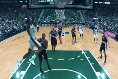 Video: Jazz's Jeremy Evans Runs from Three-Point Line to Complete Oop
