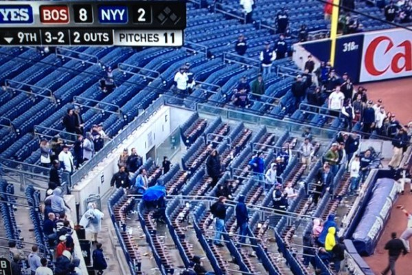 Yankees Fans Catch Early Train Home from Today's Opener