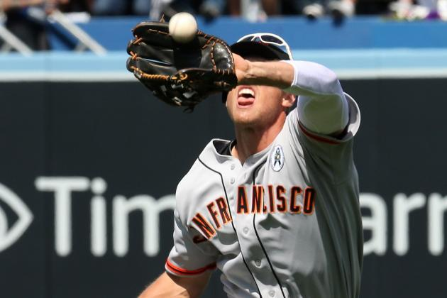 Hunter Pence Lives Dangerously, Ditches Sunglasses and Loses Ball in Sun