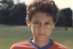 Image: Young Jeter Posing with Soccer Ball