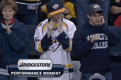 Predators Fans' Booger-Eating Antics Caught on Live TV (GIF)