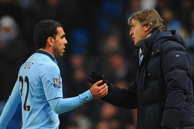 Manchester City Boss Roberto Mancini Unconcerned by Tevez Punishment