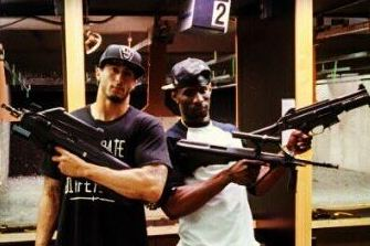 Colin Kaepernick with Assault Rife at Shooting Range