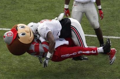 Ohio State Football: Brutus Buckeye Lit Up on Tackle (VIDEO)