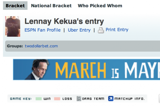 The Winning Bracket of ESPN's Tournament Challenge Is Named 'Lennay Kekua'