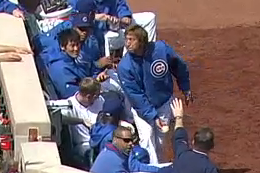 Cubs' Closer Nailed in Face with Foul Ball