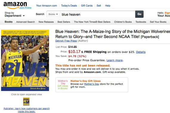 Amazon Selling Michigan National Title Book from Detroit Free Press