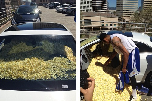 Instagram: Dubs Fill Bazemore's Car with Popcorn