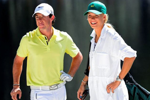 Wozniacki Duffs Shot in the Water While Caddying for McIlroy