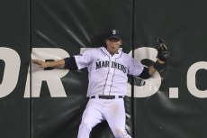 Michael Saunders Exits Game After Slamming into Wall