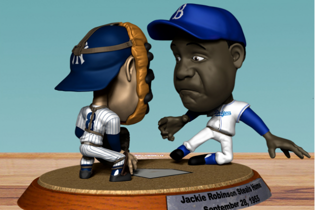 Bobblehead of Jackie Robinson Stealing Home