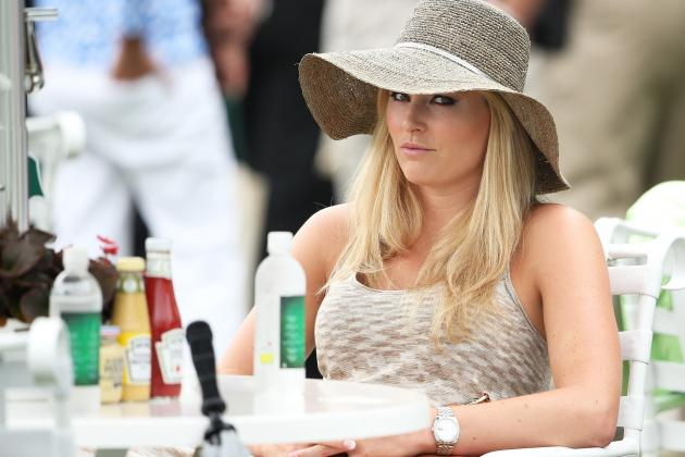 Lindsey Vonn Dons Floppy Hat as She Cheers on Tigers Woods at 2013 Masters