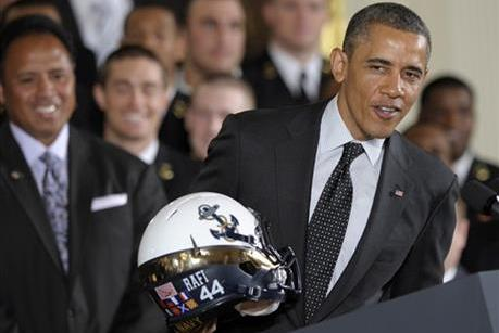 Obama Presents Service Trophy to Navy Football