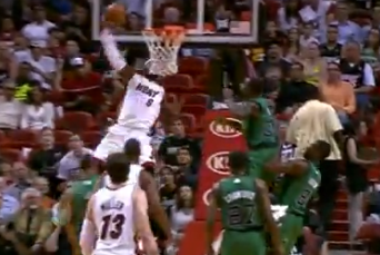 Video: LeBron Drives Baseline, Throws Down on Celtics