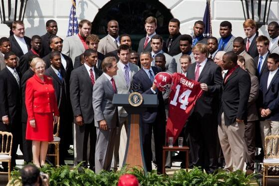 Alabama Crimson Tide Football Team Visits President Barack Obama at White House
