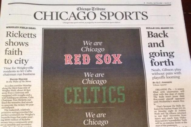 Chicago Tribune Dedicates Front Page of Sports to Boston