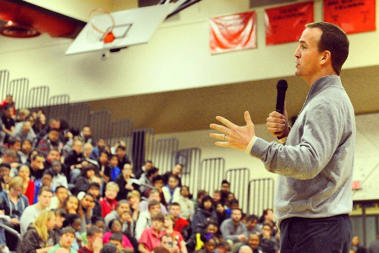 Peyton Manning Surprises High School Students with a Visit