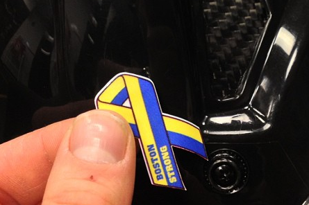 Instagram: B's to Tribute Marathon Victims with Helmet Decal